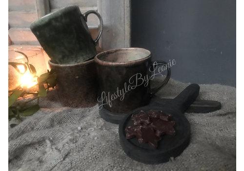 LifestyleByLeonie Sobere bruin/groen kleurige mok