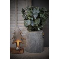 Zinken kerstboom op houten voet - waxinelichthouder