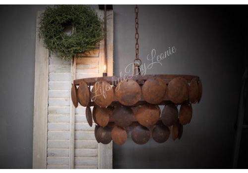 LifestyleByLeonie Metalen roestige schijfjes hanglamp|L
