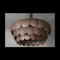 Metalen roestige schijfjes hanglamp 40 cm