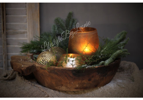 LifestyleByLeonie Sobere glazen kerstbal dotted Old gold 8 cm