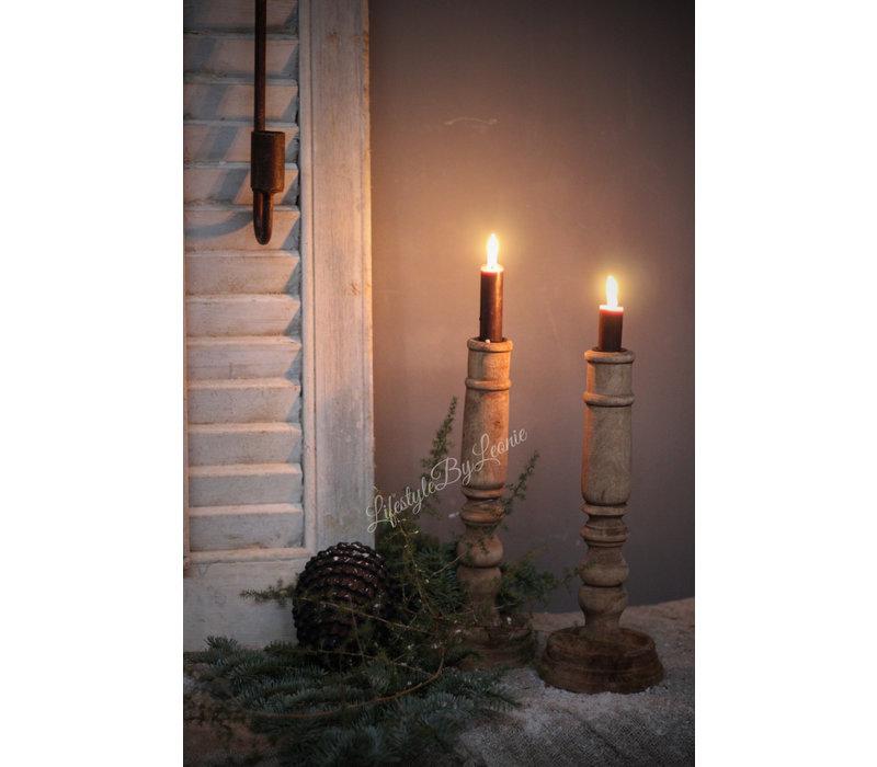 Houten baluster kandelaar Dark wood 30 cm