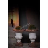 Stenen Franse louvre pot Creme 25 cm