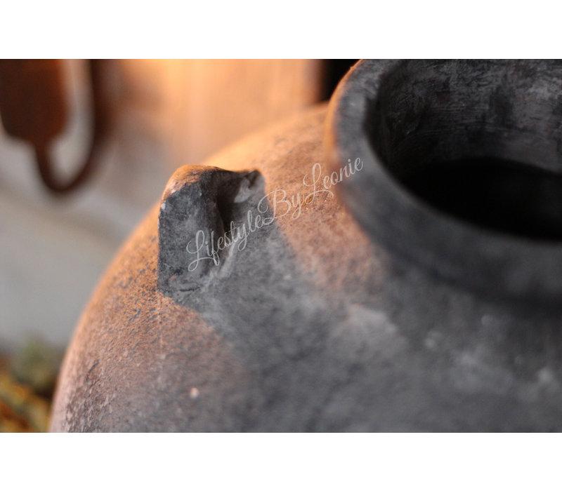 Grote stenen grijze kruik met 4 oren 31 cm