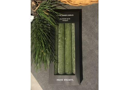 Pakje dinerkaarsen Old green - 4 stuks