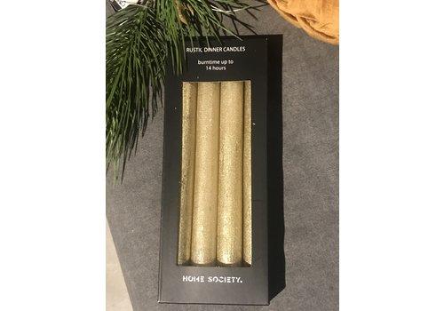 Pakje dinerkaarsen Gold rush - 4 stuks