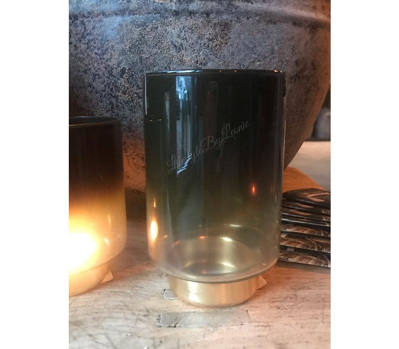 Glazen windlicht op voet Gold/green - maat M