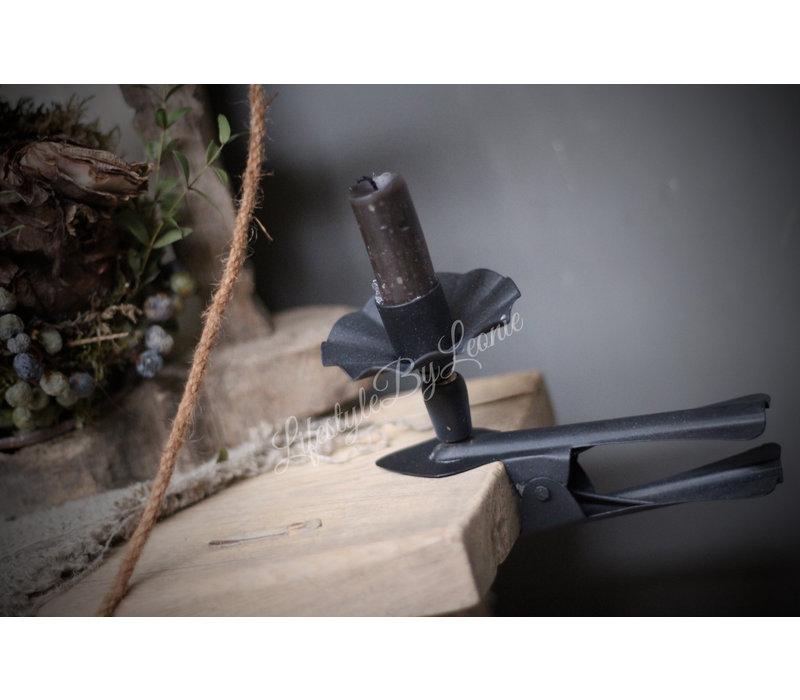 Metalen klem kandelaar dinerkaars Old black