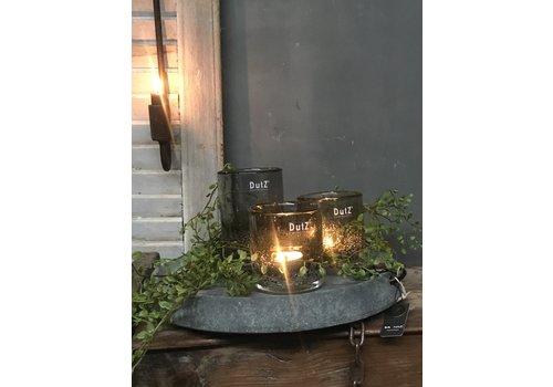 Dutz DUTZ cilinder windlicht met bubbels olive 14 cm