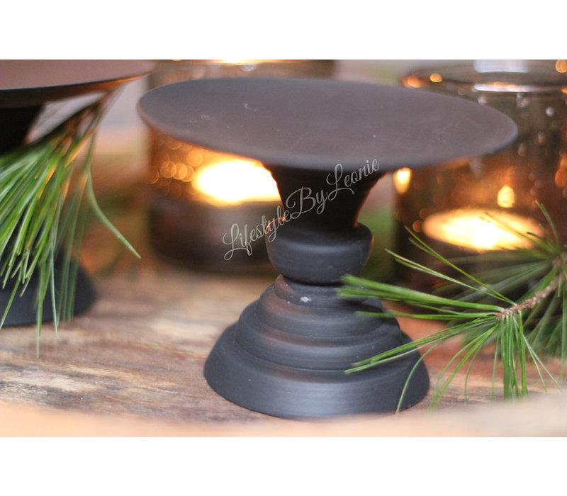 Zwart metalen tray / kandelaar op voet 11 cm