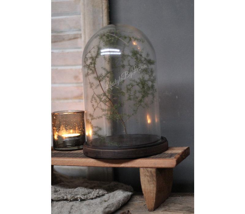 Glazen stolp Bell op platte houten voet 26 cm