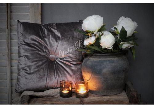 LifestyleByLeonie Vierkant velvet kussen knoop grijs 45 cm