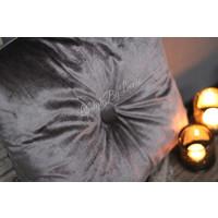 Vierkant velvet kussen knoop grijs 45 cm
