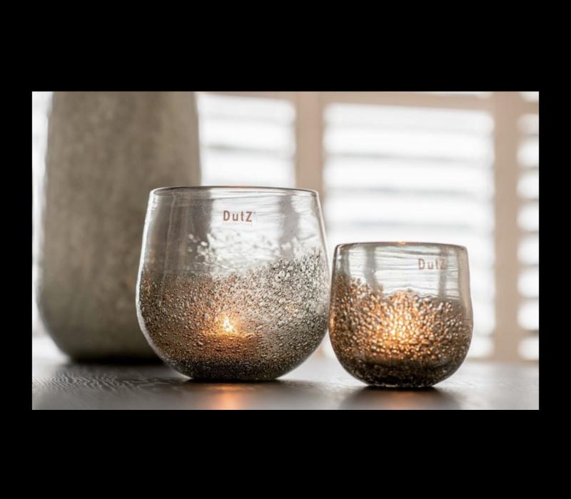 DUTZ round windlicht met bubbels olive 12 cm