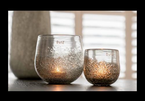 Dutz DUTZ round windlicht met bubbels olive 17 cm