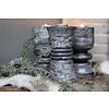LifestyleByLeonie Zwart/grijze baluster kandelaar 16 cm - 3 stuks
