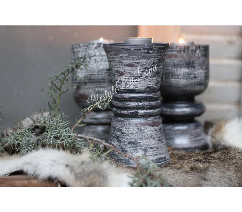 Zwart/grijze baluster kandelaar 16 cm - 3 stuks