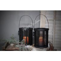 Zwarte stof lantaarn met glas J-line 23 cm