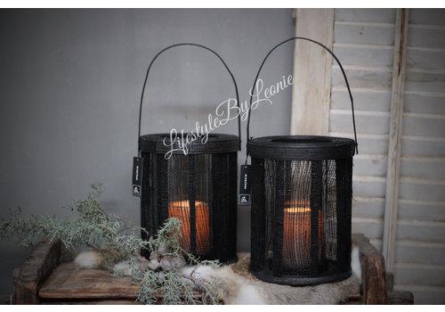 LifestyleByLeonie Zwarte stof lantaarn met glas J-line 23 cm