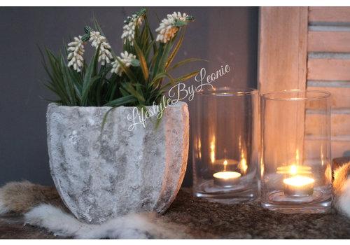 PTMD PTMD ovale stenen pot off white 18 cm