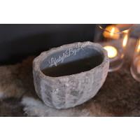 PTMD ovale stenen pot off white 18 cm