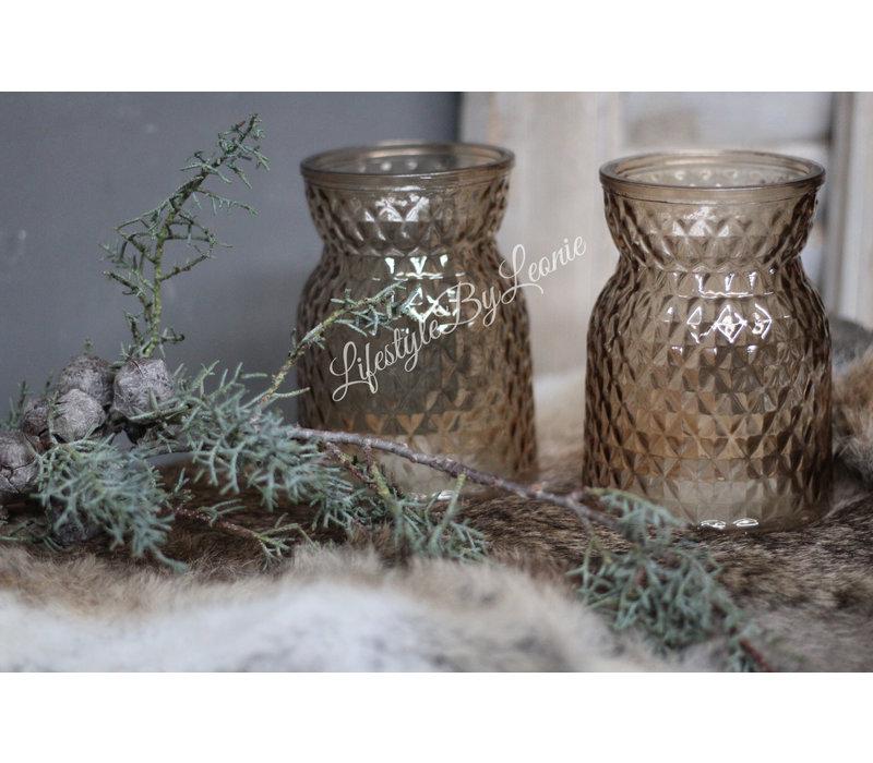 Glazen waxinelichthouder Marrakech brown 13 cm