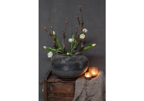 LifestyleByLeonie Groen witte kunst tulp half open 41 cm