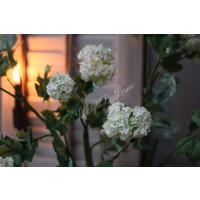 Zijden grote Hortensia Snowball tak white 114 cm