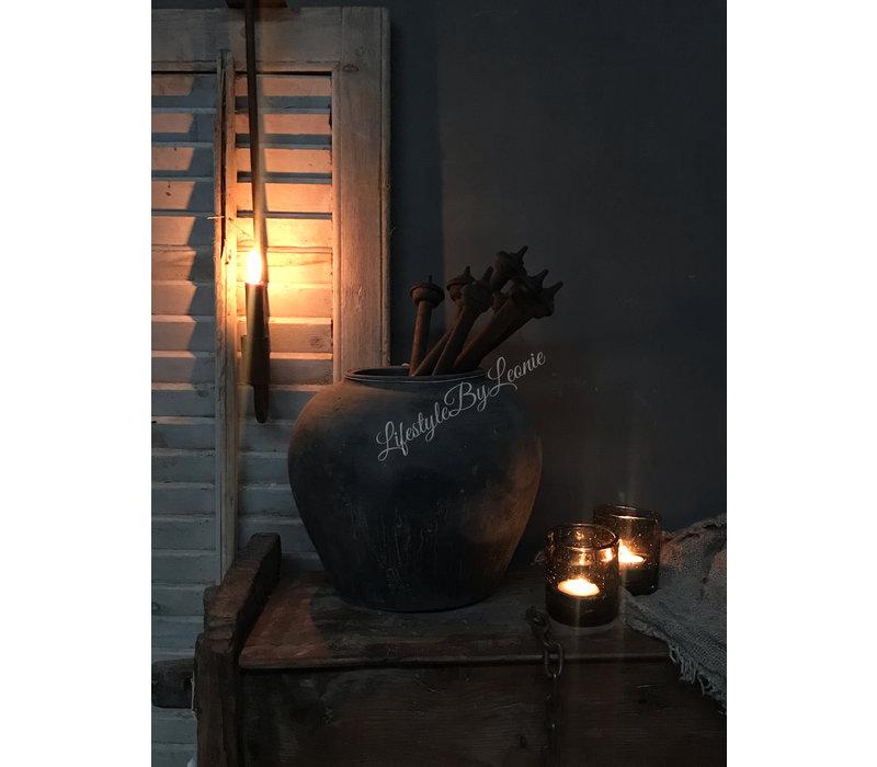 Oude houten spinnenwiel ornament