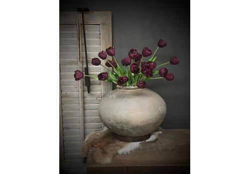 LifestyleByLeonie Donker paarse kunst tulp half open 41cm