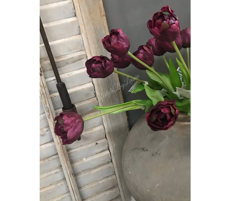Donkerpaarse kunsttulp half open 41 cm