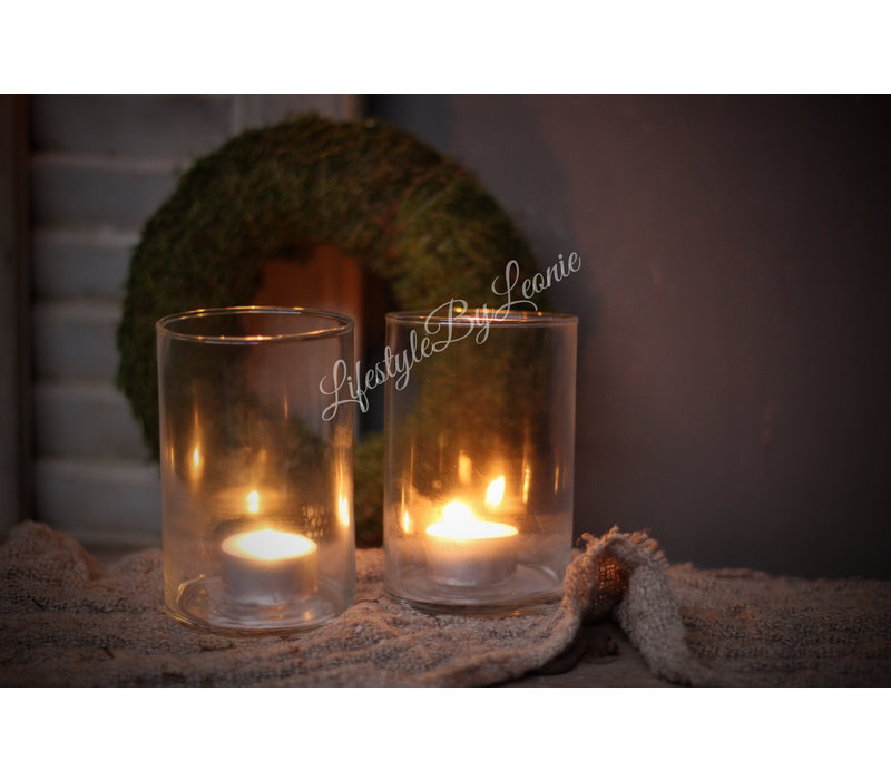 Glazen cilinder windlicht 12 cm