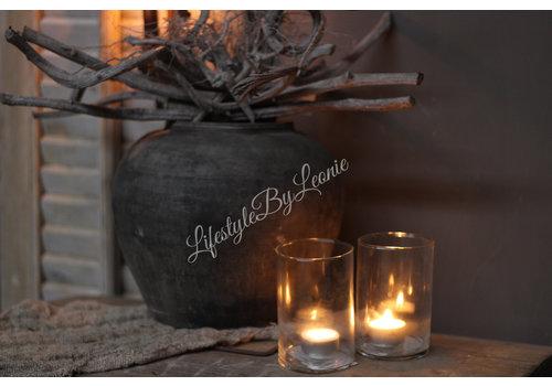 LifestyleByLeonie Glazen cilinder windlicht 12 cm