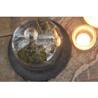 Glazen stolpje met grijs onderbord 20 cm