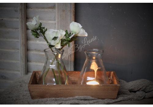 LifestyleByLeonie Houten tray met 2 waxineglaasjes / vaasjes 28 cm