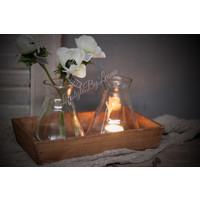 Houten tray met 2 waxineglaasjes / vaasjes 28 cm
