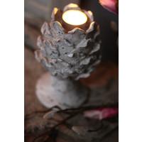 Stenen artisjok waxinelichthouder op voet 19,5 cm