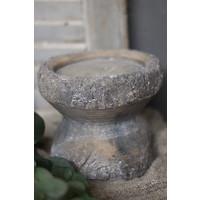 Stenen vijzel kandelaar 18 cm