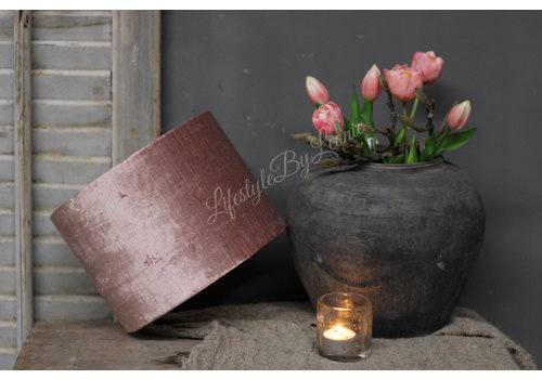 Cilinder lampenkap velvet oud roze 25 cm