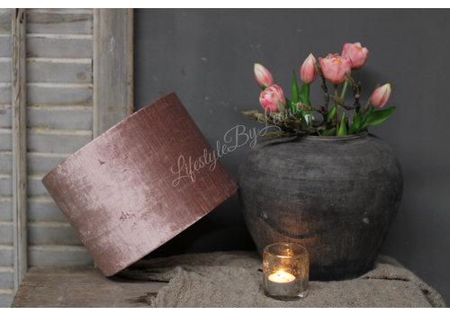 LifestyleByLeonie Cilinder lampenkap velvet oud roze 25 cm