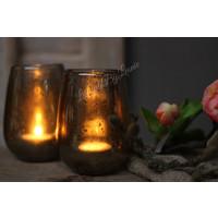 Glazen windlicht steenslag Amber 12 cm
