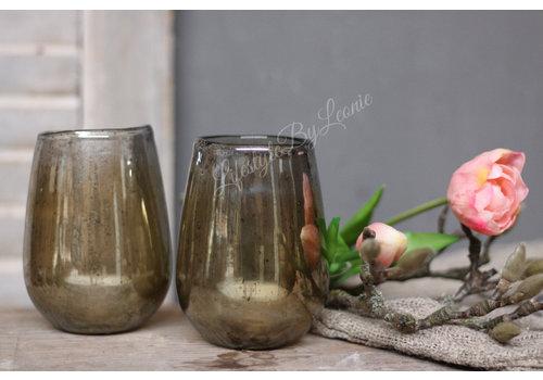 LifestyleByLeonie Glazen windlicht steenslag Amber 12 cm