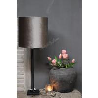 Cilinder lampenkap velvet zinc taupe 25 cm