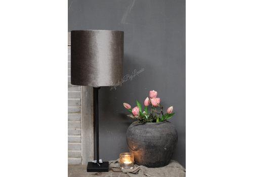 LifestyleByLeonie Cilinder lampenkap velvet zinc taupe 25 cm