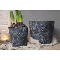 Sobere ronde zwarte stenen pot 18 cm