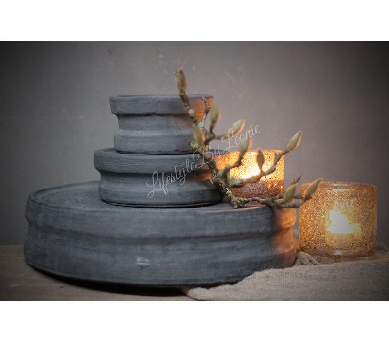 Stenen poer / kandelaar Black 35 cm