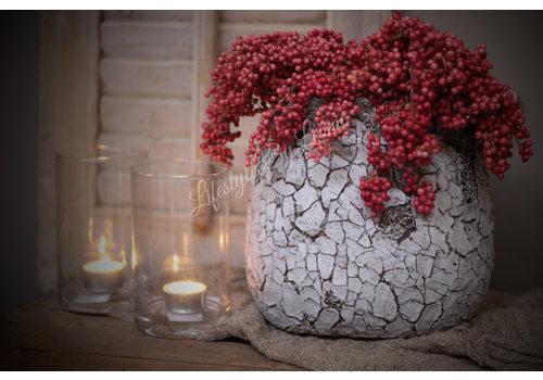 LifestyleByLeonie Pot Cracle old brown/white 23 cm