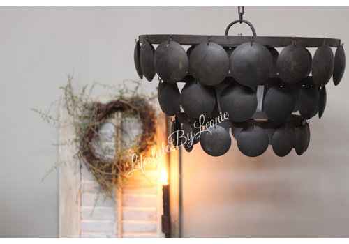LifestyleByLeonie Metalen Old black schijfjeslamp - maat L