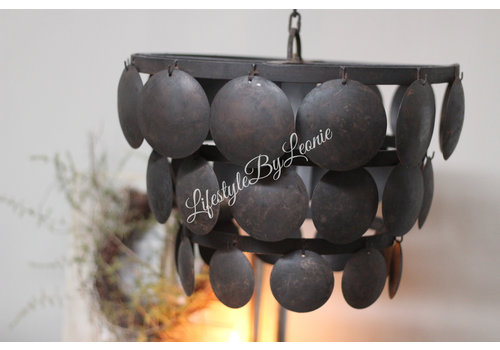 LifestyleByLeonie Metalen Old black schijfjeslamp - maat M