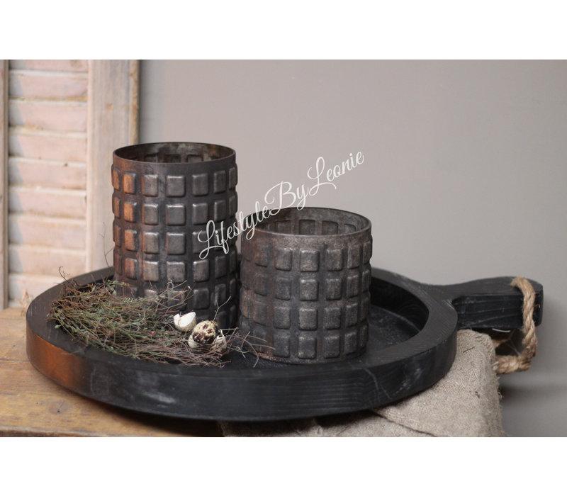 Grote houten tapas / dienblad rond Old black 64 cm